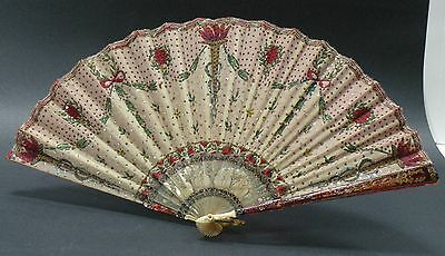 jbx2 ANTIQUE FAN, cloth, hand painted and tiny sequins, 19th to early 20th C