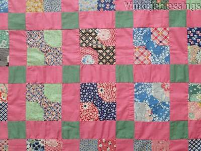 "Vintage 30s Pink Bow Tie QUILT TOP Make 2 Crib Quilts! 68"" x 32"""