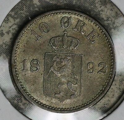 Nice Almost Uncirculated 1892 Norway 10 Ore Silver Coin!