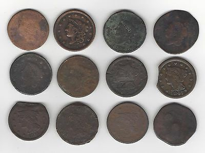 12 Damaged Large Cents (1 is draped bust)
