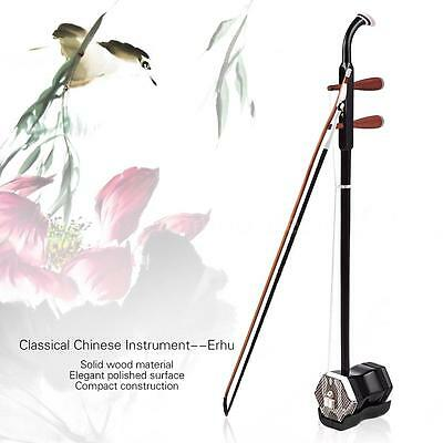 Hot 2-string Erhu Chinese Violin Coffee Solidwood+Bridge Case Rosin Gift Q8O1