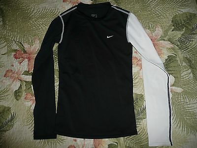 Youth Kids Nike Long Sleeve Compression Shirt Football Sports Black White