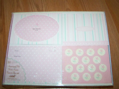 Box of 50 Gartner Baby Girl Birth Announcements Thank You Cards Pink
