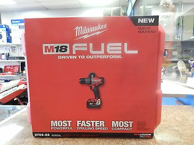 Brand New Milwaukee 2704-22 M18 Fuel 1/2 In. Hammer Drill/driver Kit