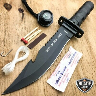 "11"" BLACK Tactical Fishing Hunting Survival Knife w/ Sheath Bowie + Survival Kit"