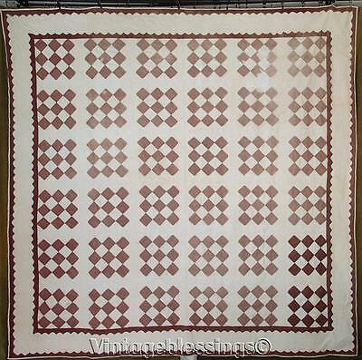 """Early One! Large Brown & Cream ANTIQUE 19th Century QUILT Great Border 86x85"""""""