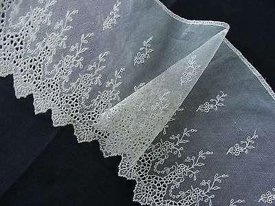 Antique Cotton Tulle Net Lace with Floral Pattern