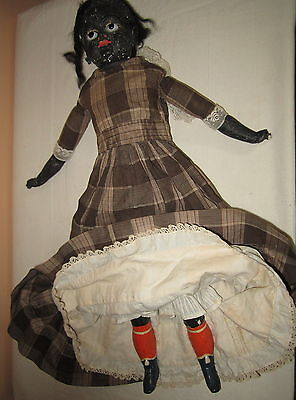 Antique Black Paper Mache Cloth Doll Dressed **tlc**