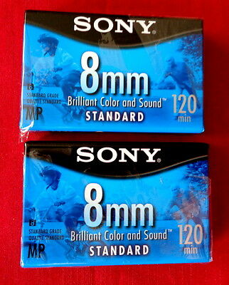 2 Sony 8mm Blank Video Tapes for Handycam & Camcorder / Standard 120 min.