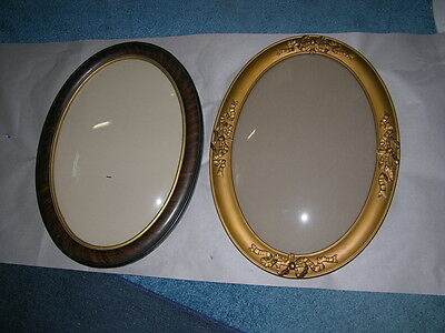 2 Large Oval 19th Century Picture Frames with Original Bubble Glass 17x23""