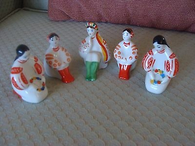 Ukrainian ceramic figurines-5 girls/costumes/numbered on base/from USSR time