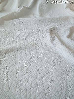 Glorious FINE QUILTING Antique Whitework Bridal Wedding QUILT Birds & Scalloped
