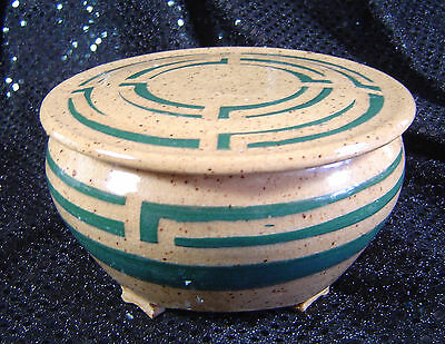"""Covered Footed Pottery Bowl Beige Teal Geometric Pattern Signed Beth Wilcox? 5"""""""