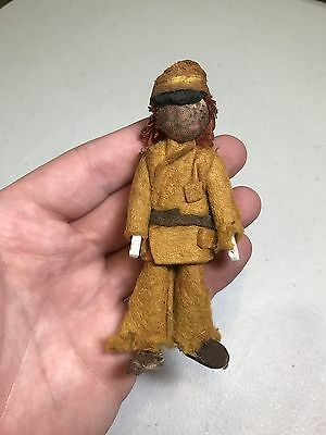 """Rough Miniature Raggedy Andy Doll Soldier? Vintage Antique Felt 4.25"""" Tall"""