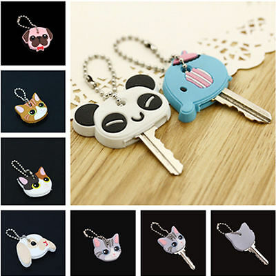 CUTE ANIMALS SOFT Silica Gel Key Ring Head Cap Cover @Keychains Accessories