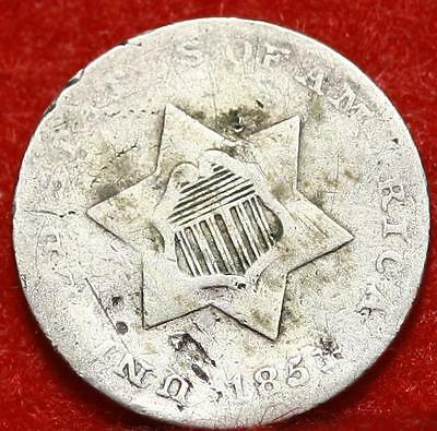 1851 Philadelphia Mint Silver Three Cent Coin Free Shipping