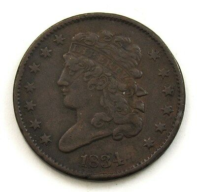 1834 Half Cent Classic Head - VF Details - Very Fine H1C