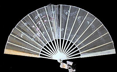 Antique Victorian Hand Fan Hand Painted Off-White Floral Organdy Silk