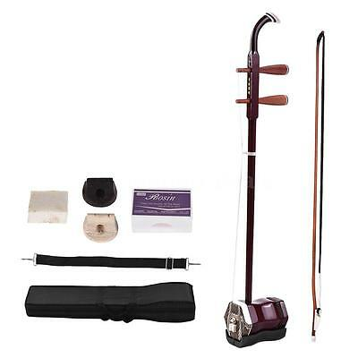 Hot 2-string Erhu Chinese Violin Red Solidwood+Free Bridge Case Rosin Gift T0I7