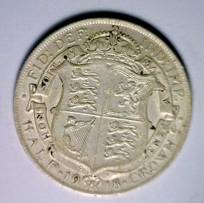 GREAT BRITAIN 1/2 CROWN 1918 EXTRA FINE SILVER COIN ( stock# 0502)