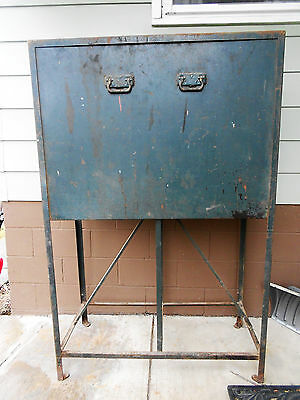 Unique One of a Kind Large Heavy Metal Industrial Chic Cabinet w/ Sliding Door