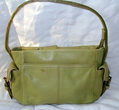 Fossil Green Leather Small Purse Handbag Satchel Tote Zip Top Pockets Soft Roomy