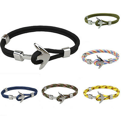 Fashion Vintage Men's Silver Alloy Anchor Polyester Rope Wrist Bracelet Jewelry