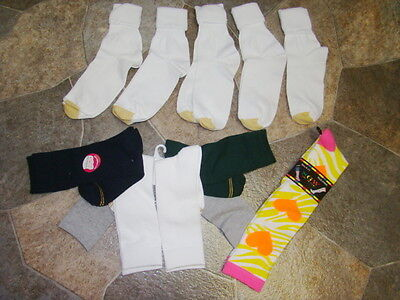 11* Pr. Ladies- Socks* 5 Gold Toe,5 New Spandex Ez Match Socks,1-Knee-High Socks