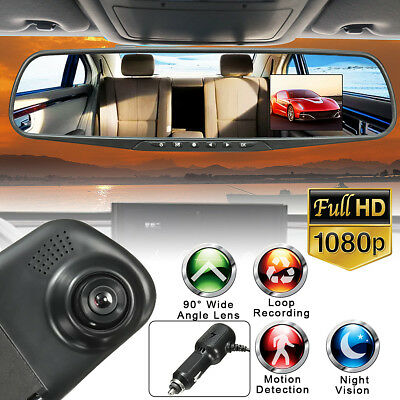 1080P HD Rearview Mirror Dash Cam Camera Video Recorder Night Vision Car DVR