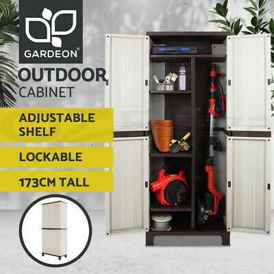 Outdoor Storage Cabinet Lockable Cupboard Tall Spacious Garden Garage Adjustable
