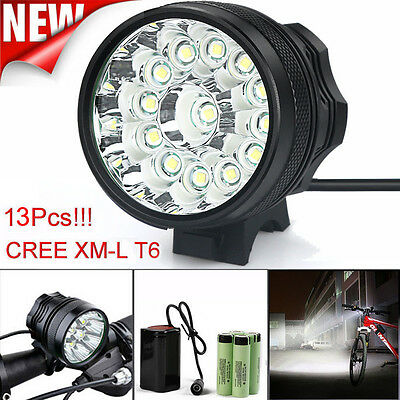 36000LM CREE XM-L 13x T6 LED 18650 Bicycle Cycling Waterproof Bright Light USPS