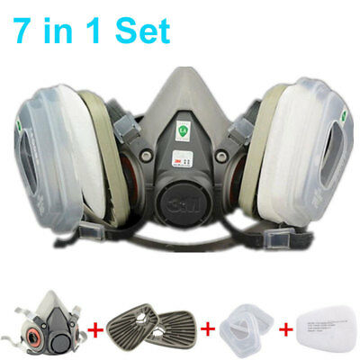 7 in 1 Set Respirator Painting Spraying Half Face Gas Dusk Mask For 3M 7502 6200