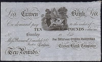 1800's CRAVEN BANK £10 BANKNOTE * UNISSUED REMAINDER * gEF * Ref 5 * Outing 366a