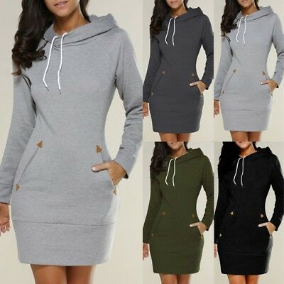 UK Women Winter Hooded Warm Shirt Sweatshirt Hoodies Jumper Pullover Dress Plus