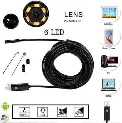 2M 6LED 7mm Android Endoscope Waterproof Snake Borescope USB Inspection Camera