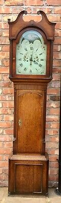 Antique Oak & Mahogany Banded Rolling Moon Grandfather Clock B Peers Chester