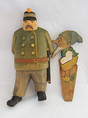 Vintage-Black Forest-Carved Austrian Soldier Figure & Gnome Window Stop-c1910