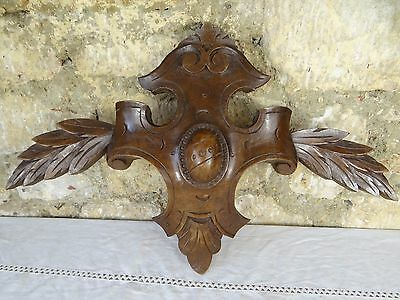 "20.5"" Antique French Hand Carved Pediment Architectural Solid Walnut Wood 19th"