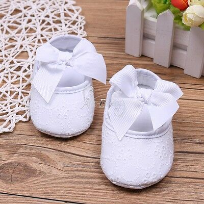 Baby Girl Infant Satin Mary Jane Baptism Bowknot Shoes Dance Ballerina Slippers