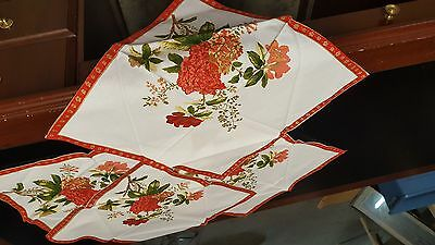 Vintage Napkins Astoundingly Colorful Hydrangea With Red Borders