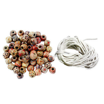 100pcs Wooden Beads Painted Boho Style+5mm Cotton Cord Jewelry Making Craft