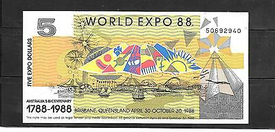 Australia Expo 1988 Au-Unused $5 Dollar Banknote Paper Money Currency Bill Note