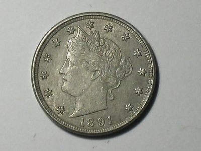1891 5C Liberty Nickel