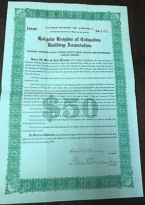 1926 USA Knights of Columbus Building As. Mortgage $50 Gold Bond Mortgage BL1155