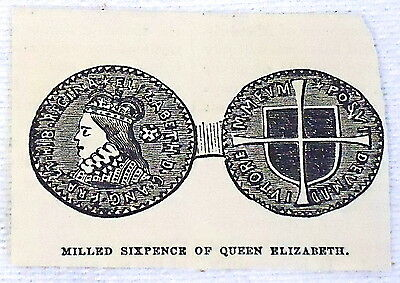 small 1882 magazine engraving ~ MILLED SIXPENCE OF QUEEN ELIZABETH