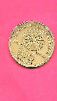 GREECE GREEK KM159 1990 VF-VERY FINE-NICE OLD PRE-EURO used 100 DRACHMES COIN