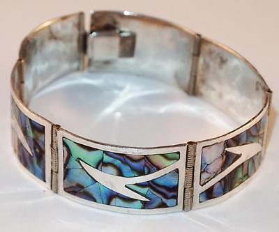 Vintage Los Ballesteros Sterling Silver Taxco Abalone Shell Inlay Panel Bracelet