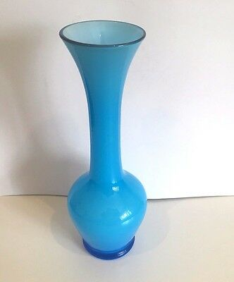 "HOLMEGAARD GLASS VASE CARNABY BLUE & WHITE  8"" HIGH MID 20th CENTURY MOD SWEDEN"