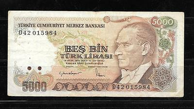Turkey #197 1985 Vg Used 5000 Lira Old Banknote Paper Money Currency Bill Note