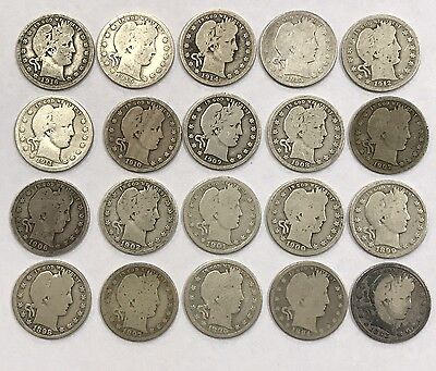 Lot of 20 Different Dates Barber 90% Silver Quarters 1892-1916 No Duplicates *2